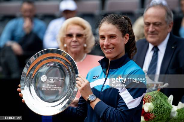Johanna Konta poses with second prize losing her Women Final match against Karolina Pliskova during Internazionali BNL D'Italia Italian Open at the...
