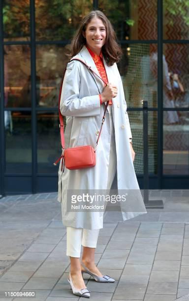 Johanna Konta seen leaving the Ham Yard Hotel with the Radley London Alba Place crossbody bag from the Johanna Konta edit SS19 collection on May 21,...