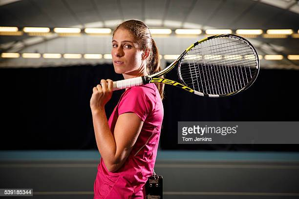 Johanna Konta the British tennis player poses for a portrait at the National Tennis Centre, Roehampton on October 6th 2015 in London
