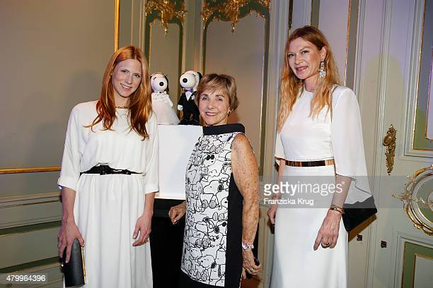 Johanna Ku?hl, Jeannie Schulz and Alexandra Fischer-Roehler attend the Snoopy & Belle Vernissage at Mercedes-Benz Fashion Week Berlin Spring/Summer...