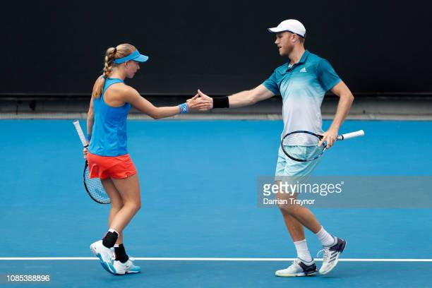 Johanna Larsson and Dominic Inglot in their Mixed Doubles match against Kristina Mladenovic and Robert Lindstedt during day seven of the 2019...