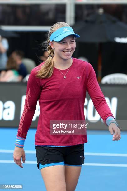 Johanna Larsson of Sweden arrives on court to play against Julia Goerges of Germany in their singles match during the ASB Classic at the ASB Tennis...
