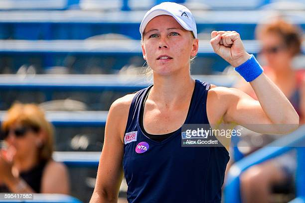 Johanna Larsson of Sweden celebrates after winning a match against Roberta Vinci of Italy on day 5 of the Connecticut Open at the Connecticut Tennis...