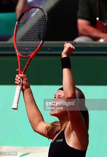 Johanna Larsson of Sweden celebrates her victory during the women's singles round one match between Johanna Larsson of Sweden and Ana Ivanovic of...