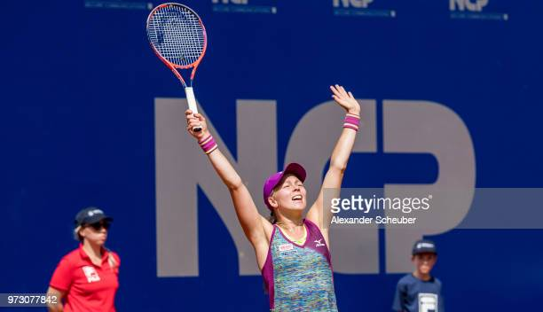 Johanna Larsson of Sweden celebrates winning the singles final during Day 8 of the WTA Nuernberger Versicherungscup on May 26 2018 in Nuremberg...