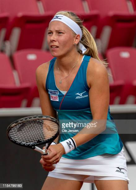 Johanna Larsson of Sweden during her first round match with Sorana Cirstea of Romania at day two of 2019 Swedish Open WTA on July 09 2019 in Bastad...