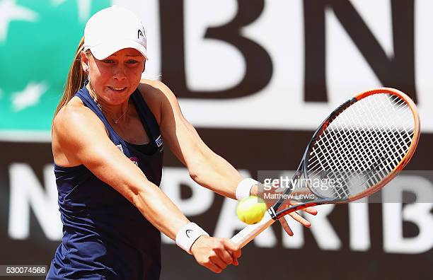 Johanna Larsson of Sweden in action against Johanna Konta of Great Britain during day three of The Internazionali BNL d'Italia 2016 on May 10 2016 in...