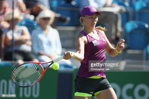Johanna Larsson of Sweden in action against Renata Voracova of the Czech Republic in their Round One match during Day One of the Fuzion 100 Southsea...