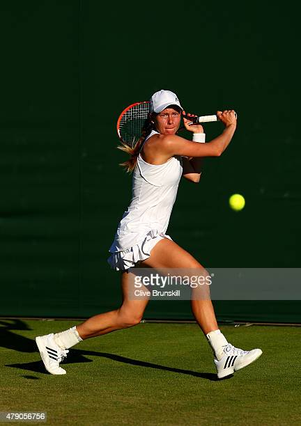 Johanna Larsson of Sweden in action in her Ladies Singles first round match against Christina McHale of the United States during day two of the...