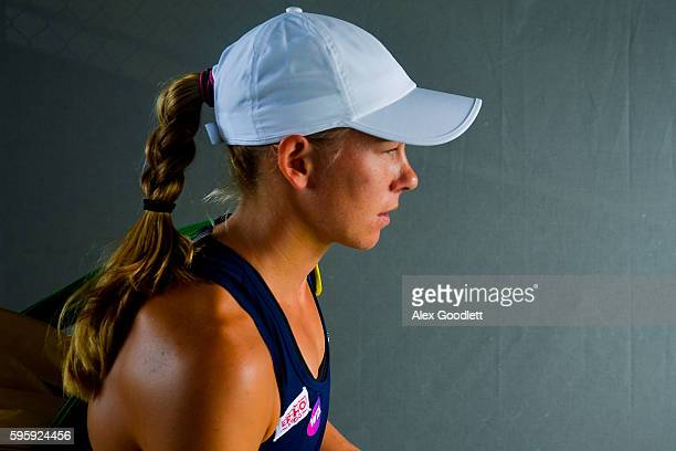 Johanna Larsson of Sweden looks on before a match against Elina Svitolina of Ukraine on day 6 of the Connecticut Open at the Connecticut Tennis...