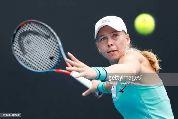 Johanna Larsson of Sweden plays a forehand during her Women's Singles first round match against Paula Badosa of Spain on day one of the 2020...