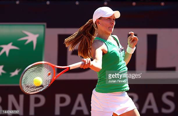 Johanna Larsson of Sweden plays a forehand in her match against Nastassja Burnett of Italy during day one of the Internazionali BNL d'Italia 2012...