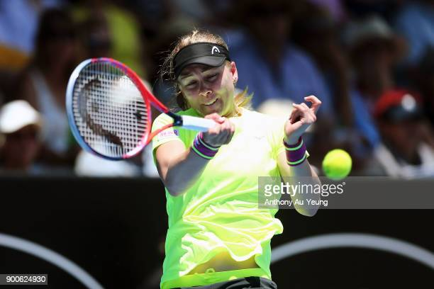 Johanna Larsson of Sweden plays a forehand in her match against Barbora Strycova of Czech Republic during day three of the ASB Women's Classic at ASB...