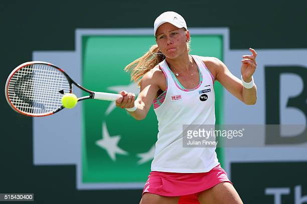 Johanna Larsson of Sweden plays a forehand in her match against Petra Kvitova of Czech Republic during day seven of the BNP Paribas Open at Indian...