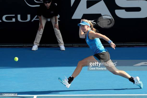 Johanna Larsson of Sweden plays a shot against Julia Goerges of Germany in their singles match during the ASB Classic at the ASB Tennis Centre on...