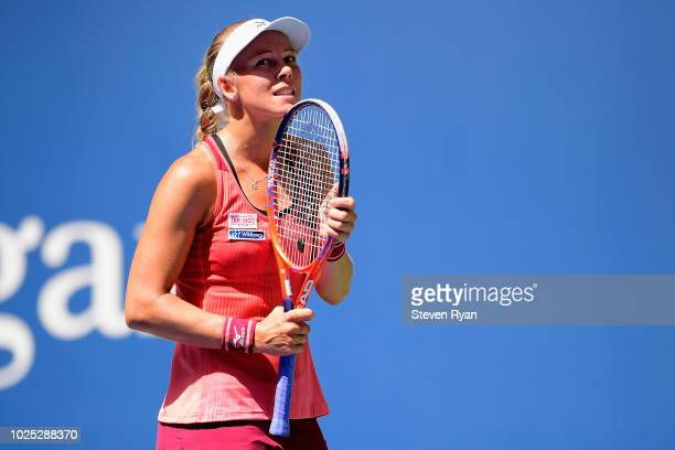 Johanna Larsson of Sweden reacts during her women's singles second round match against Angelique Kerber of Germany on Day Four of the 2018 US Open at...