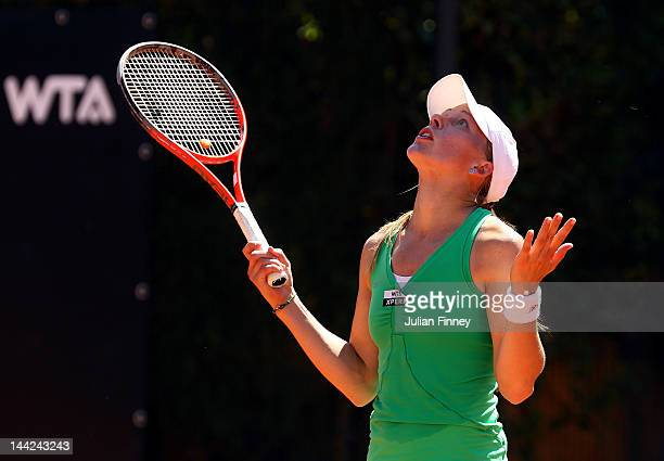 Johanna Larsson of Sweden reacts in her match against Nastassja Burnett of Italy during day one of the Internazionali BNL d'Italia 2012 Tennis on May...