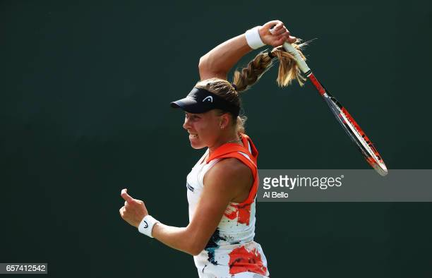 Johanna Larsson of Sweden returns a shot against Barbora Strycova of the Czech Republic during day 5 of the Miami Open at Crandon Park Tennis Center...