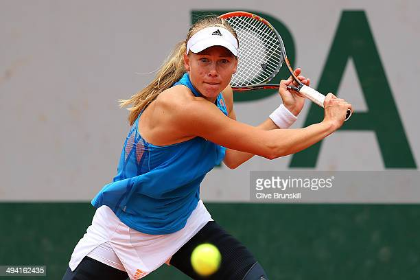 Johanna Larsson of Sweden returns a shot during her women's singles match against Flavia Pennetta of Italy on day four of the French Open at Roland...