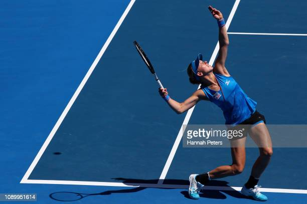Johanna Larsson of Sweden serves during the Women's doubles semi final with partner Kirsten Flipkens of Belgium against Paige Hourigan of New Zealand...