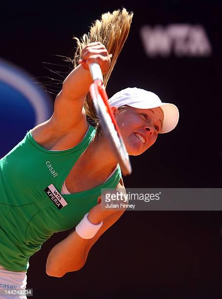 Johanna Larsson of Sweden serves to Nastassja Burnett of Italy during day one of the Internazionali BNL d'Italia 2012 Tennis on May 12 2012 in Rome...
