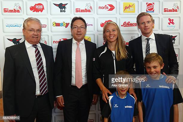 Johanna Larsson of Sweden visits the Simba Dickie Group showroom during day seven of the Nuernberger Versicherungscup 2016 on May 20 2016 in Fuerth...