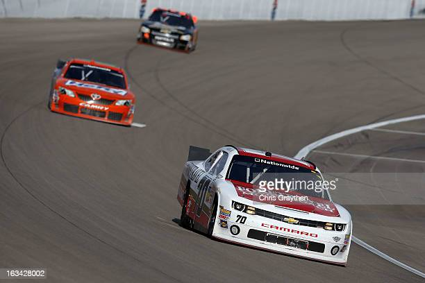 Johanna Long driver of the ForeTravel Motorcoach Chevrolet drives during the NASCAR Nationwide Series Sam's Town 300 at Las Vegas Motor Speedway on...