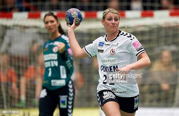 Johanna Marie Helene Ahlm of Team Esbjerg in action during the Danish Boxer Dameligaen women's match between FCM Handbold and Team Esbjerg at IBF...