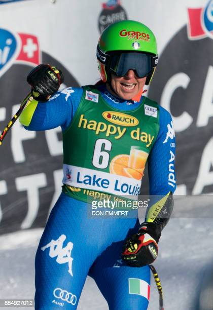Johanna Schnarf of Italy reacts to her 6th place finish during the FIS Ski World Cup Women's Super G on December 3 2017 in Lake Louise Canada / AFP...