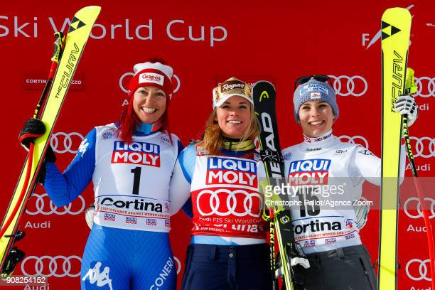 Johanna Schnarf of Italy takes 2nd place Lara Gut of Switzerland takes 1st place Nicole Schmidhofer of Austria takes 3rd place during the Audi FIS...