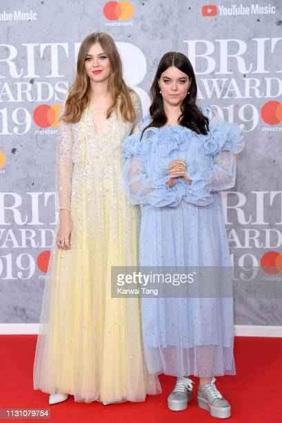 Johanna Soderberg and Klara Soderberg of First Aid Kit attend The BRIT Awards 2019 held at The O2 Arena on February 20 2019 in London England