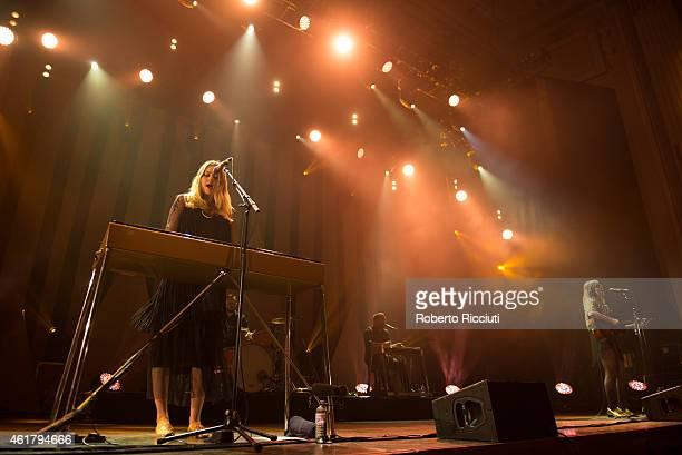 Johanna Soderberg and Klara Soderberg of First Aid Kit perform on stage at Usher Hall on January 19, 2015 in Edinburgh, United Kingdom.