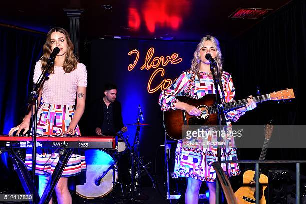 Johanna Soderberg and Klara Soderberg of 'First Aid Kit' perform on stage at the I Love Coco Backstage Beauty Lounge at Chateau Marmont's Bar Marmont...