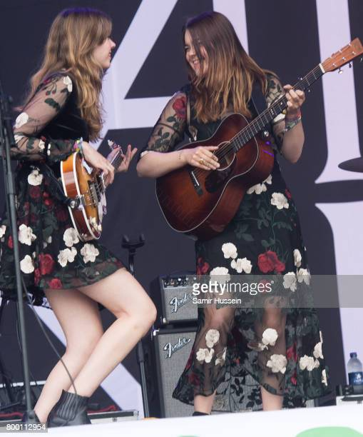 Johanna Soderberg and Klara Soderberg of First Aid Kit perform on day 2 of the Glastonbury Festival 2017 at Worthy Farm Pilton on June 23 2017 in...