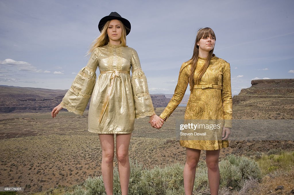 Johanna Soderberg and Klara Soderberg of First Aid Kit pose for a portrait backstage on day 2 of Sasquatch! Music Festival at the Gorge Amphitheater on May 24, 2014 in George, United States.