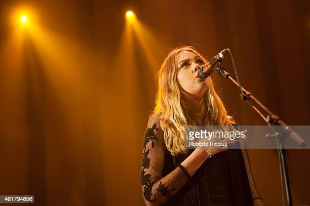 Johanna Soderberg of First Aid Kit performs on stage at Usher Hall on January 19, 2015 in Edinburgh, United Kingdom.