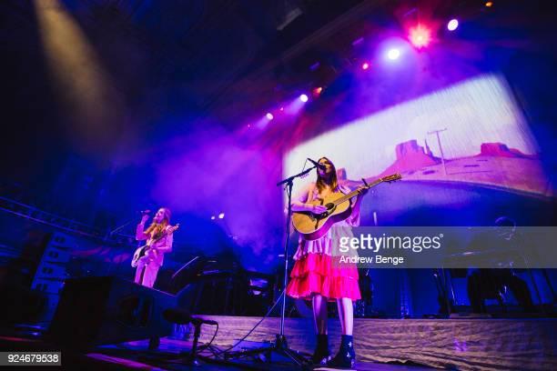 Johanna Soederberg and Klara Soederberg of First Aid Kit perform at Albert Hall on February 26 2018 in Manchester England