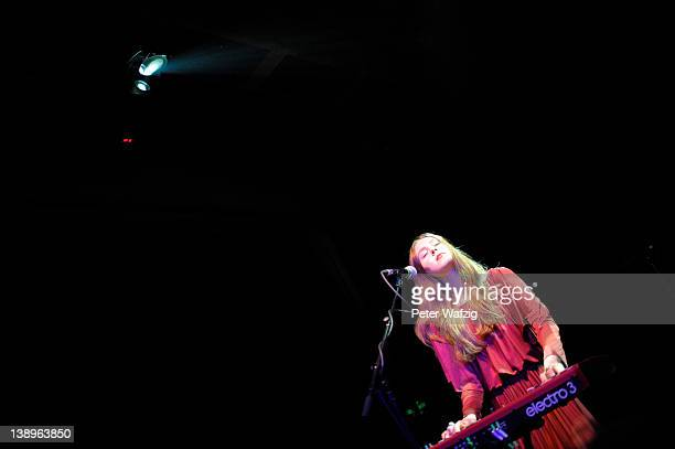 Johanna Soederberg of Swedish indiepop duo First Aid Kit performs on stage at the Gebaeude 9 on February 14 2012 in Cologne Germany
