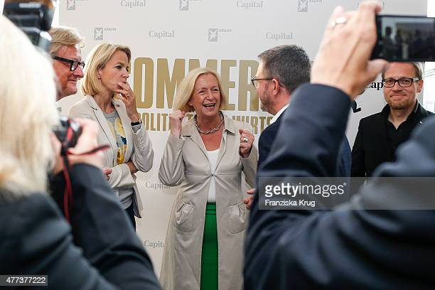Johanna Wanka Christian Krug and Jens Koenig attend the STERN And CAPITAL Summer Party on June 16 2015 in Berlin Germany