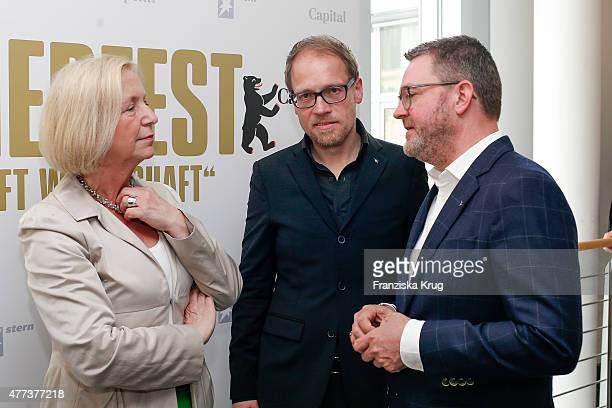 Johanna Wanka Jens Koenig and Christian Krug attend the STERN And CAPITAL Summer Party on June 16 2015 in Berlin Germany