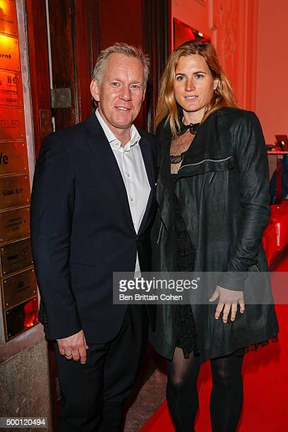 Johannes B Kerner and Britta Becker arrive for the Herz fuer Kinder Party at the Borchardt on December 5 2015 in Berlin Germany