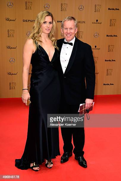 Johannes B Kerner and Britta Becker attend the Bambi Awards 2015 at Stage Theater on November 12 2015 in Berlin Germany