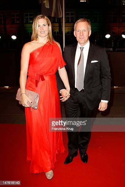 Johannes B Kerner and Britta Becker Kerner attend the Red Carpet for the Bambi Award 2011 ceremony at the RheinMainHallen on November 10 2011 in...