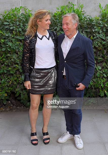 Johannes B Kerner and Britta BeckerKerner attend the preview of the exhibitions 'Nathan Sawaya The Art Of The Brick' at Kulturcompagnie on May 11...