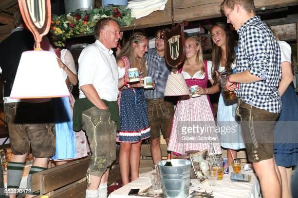 Johannes B. Kerner and daughter Emily Blommer Kerner during the Oktoberfest at Kaeferzelt at Theresienwiese on September 25, 2017 in Munich, Germany.