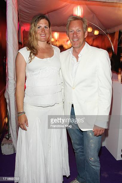 Johannes B Kerner and his heavily pregnant wife Britta BeckerKerner at the Island Island Party Meets in Kampen In Local Pony On The Island of Sylt