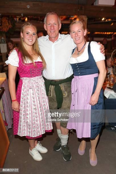 Johannes B. Kerner and his sister Julia and daughter Emily Blommer Kerner during the Oktoberfest at Kaeferzelt at Theresienwiese on September 25,...