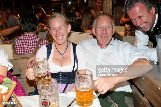 Johannes B. Kerner and his sister Julia during the Oktoberfest at Kaeferzelt at Theresienwiese on September 25, 2017 in Munich, Germany.