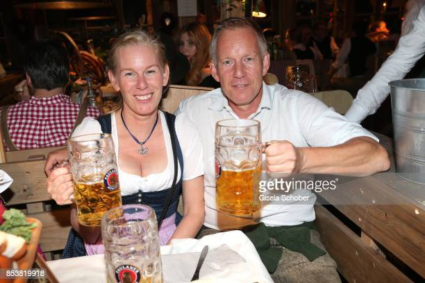 Johannes B Kerner and his sister Julia during the Oktoberfest at Kaeferzelt at Theresienwiese on September 25 2017 in Munich Germany