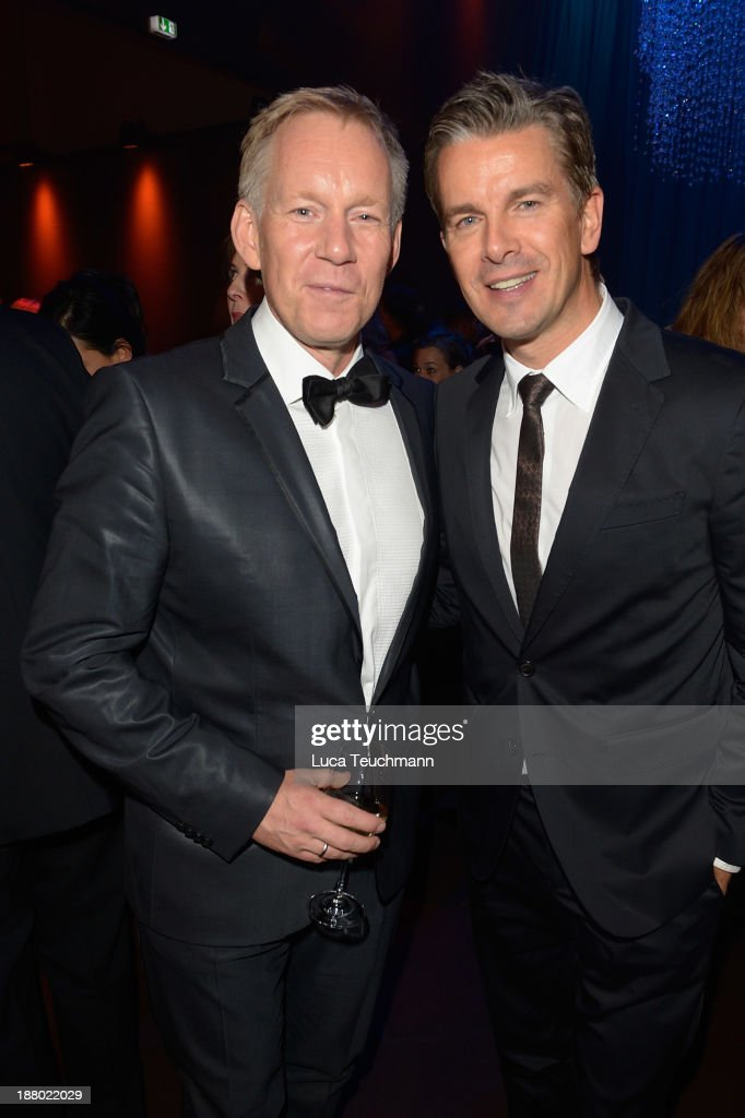 Johannes B Kerner and Markus Lanz attend the Bambi Awards 2013 After Show Party at Stage Theater on November 14, 2013 in Berlin, Germany.